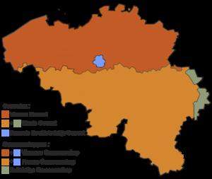 Kaart naar vier gewesten